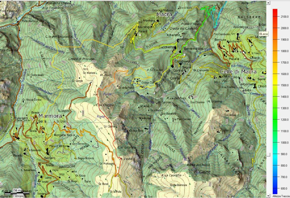Mia traccia GPS su cartina Piemonte