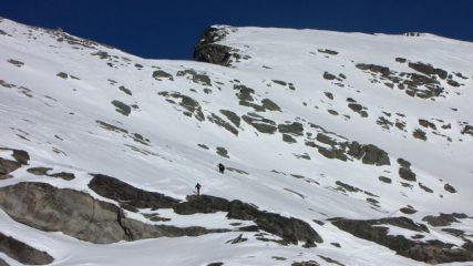 il pendio e la cresta finale verso il Mont Saint Marie (31-1-2010)