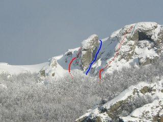 Lato sx della partete (rosso: discesa - blu: salita)