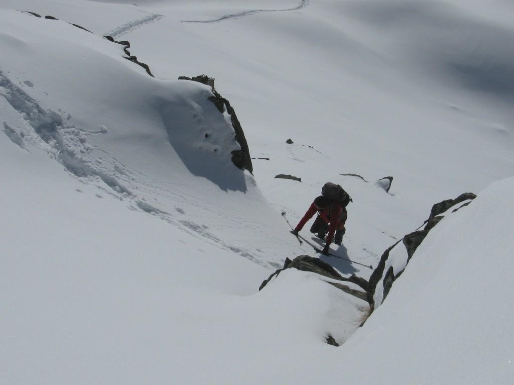 il breve canalino per accedere alla cima