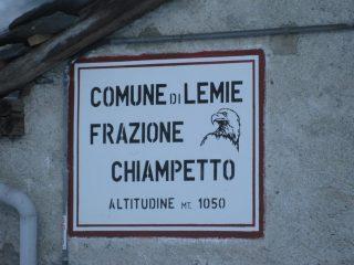 borgata Chiampetto quota reale 1.006 mt