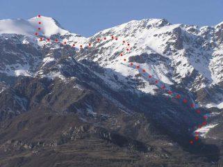 Il tracciato della gita visto dal fondovalle.