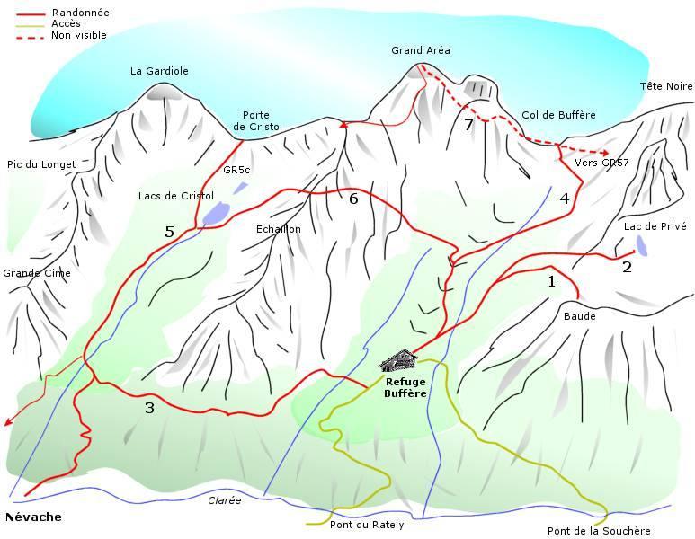 Mappa Nevache - Col de Buffère