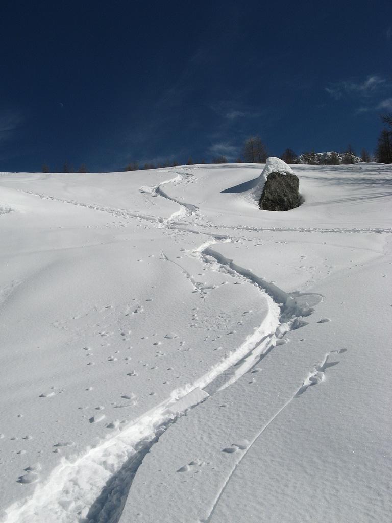 sotto i 1700 m, crostina da sciare con viiulenza