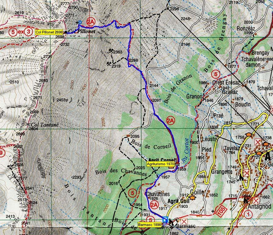 mappa itinerario con traccia GPS