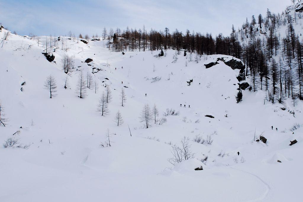 verso i 2100 m, il gruppetto sparpagliato. Scesi nel lariceto sulla dx