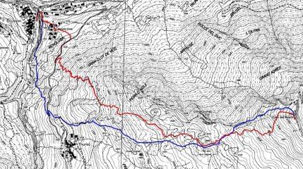 cima del bosco da bousson (in rosso la salita, in blu la discesa)