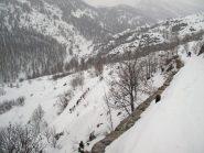 Strada per Nevache: Sciatori e ciaspolari