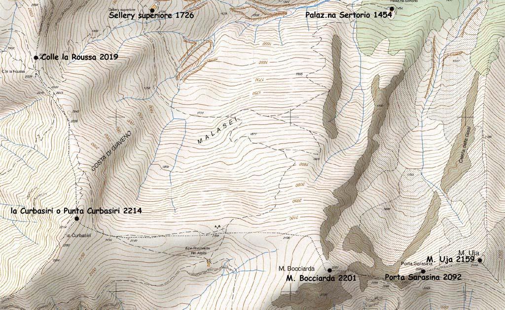 Costiera Colle la Roussa-M. Uja con denominazione CTR