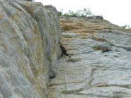 Il diedro, visibile anche dal fondovalle