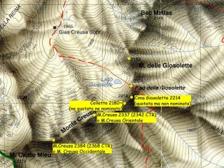 Costiera Creusa-Giosolette, stralcio carta Blù 1/25.000, cime e colli citati negli itinerari