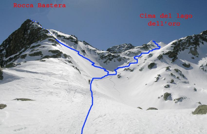 Itinerari pendii superiori della Cima lago dell'oro e della Rocca Bastera