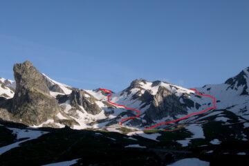 Il percorso di salita (a sinistra) e discesa (destra)   I   L'itinéraire de montée (à gauche) et descente (à droite)   I   The route going up (left) and down (right)   I   Die Aufstiegsroute (links) und die Abfahrt (rechts)   I   El recorrido de subida ( a la izquierda ) y el de bajada ( a la derecha )