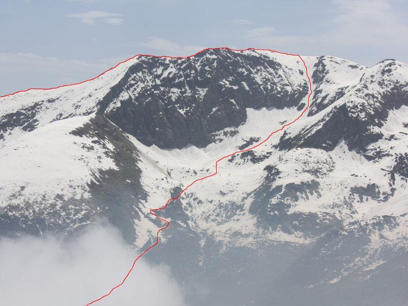 il percorso visto da Valanza (foto 23.5.2009)