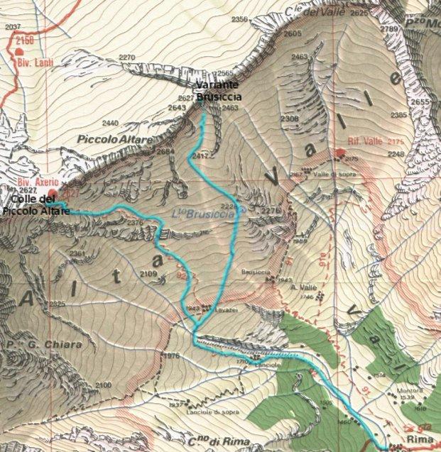 Mappa Brusiccia e Piccolo Altare