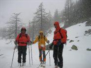 I mie tre compagni dopo la fantastica discesa, in prossimità della  Vastiere de Valmasque.