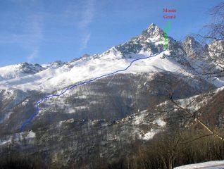 Itinerario Monte Granè, visto salendo al Briccas