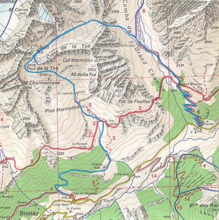 mappa Tour de la Tsa