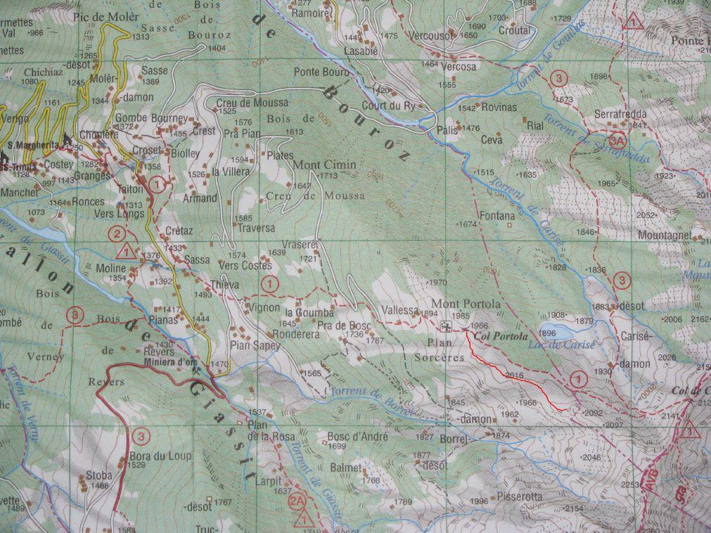 Traciato Col Portola-Base quota 2092