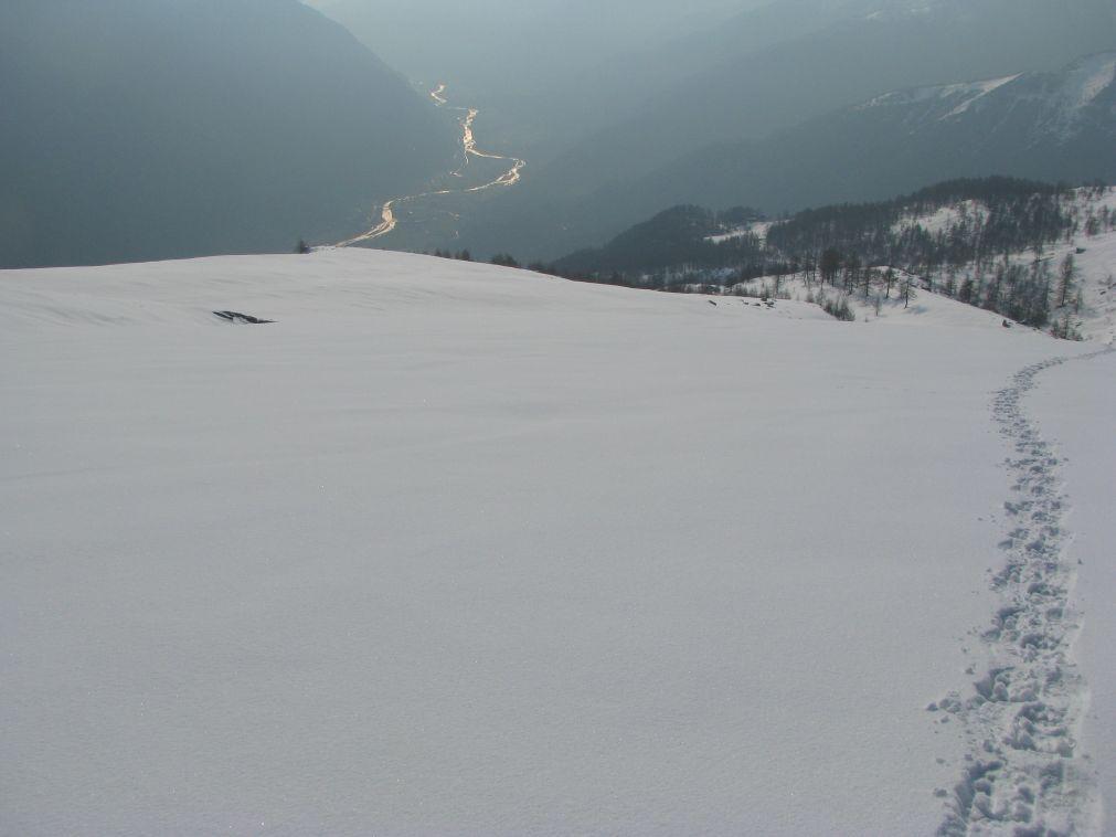 Dall'inizio del plateau, vista sul fondovalle