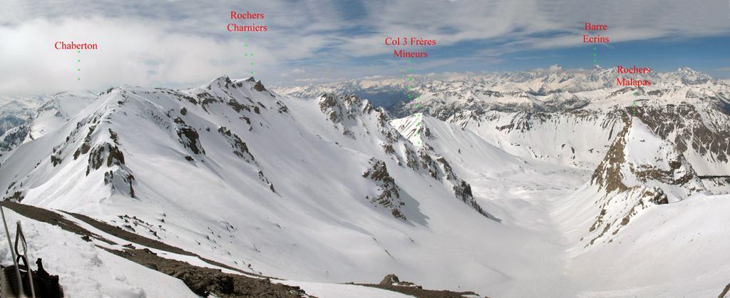 Panorama sullo Chaberton , Rochers Charniers e vallone discesa