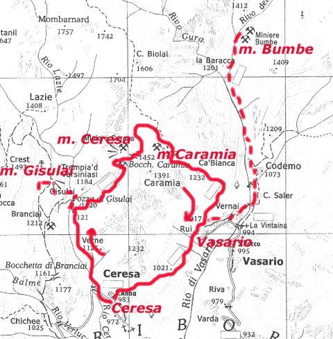 miniere Ceresa percorso