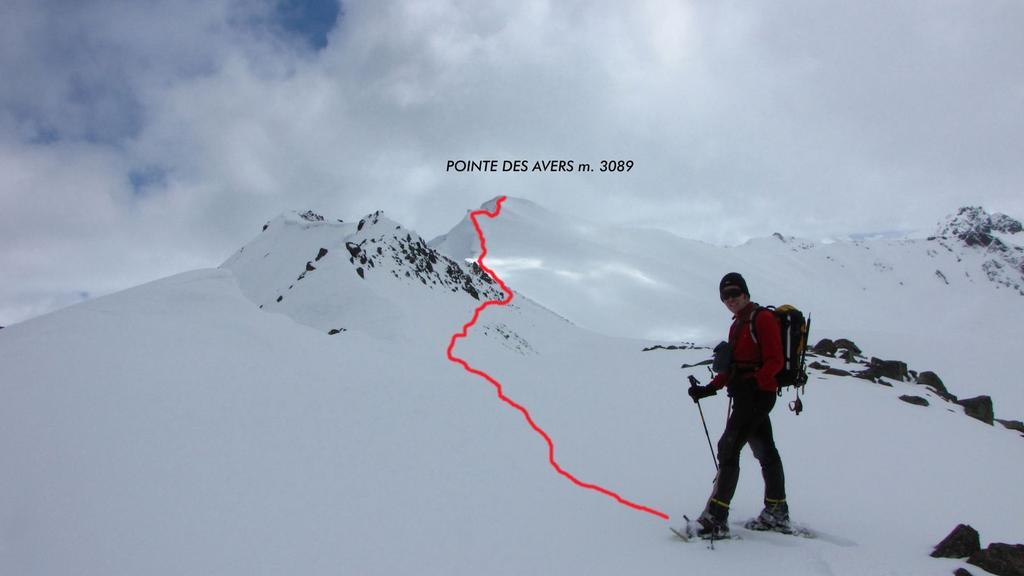 Stelvio nella parte alta del versante SO e la cima con la via seguita (8-5-2010)