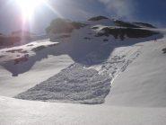 Lastrone di neve umida poco prima di raggiungere la Breche...didattica!