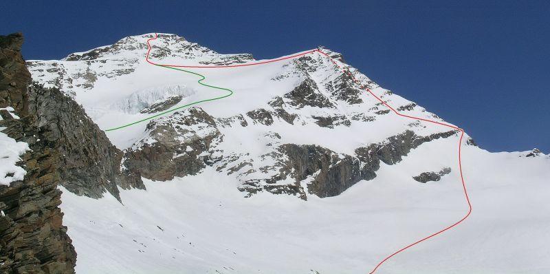 P. Vincent e P. Giordani da SE - In verde la salita, in rosso la discesa.