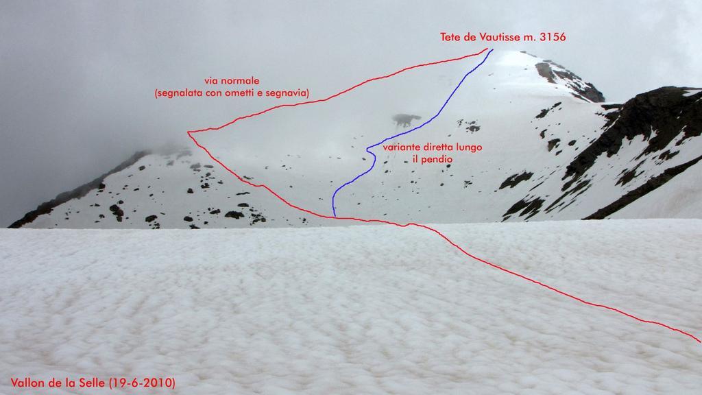 la parte alta del vallone e la vetta con le vie di salita (19-6-2010)