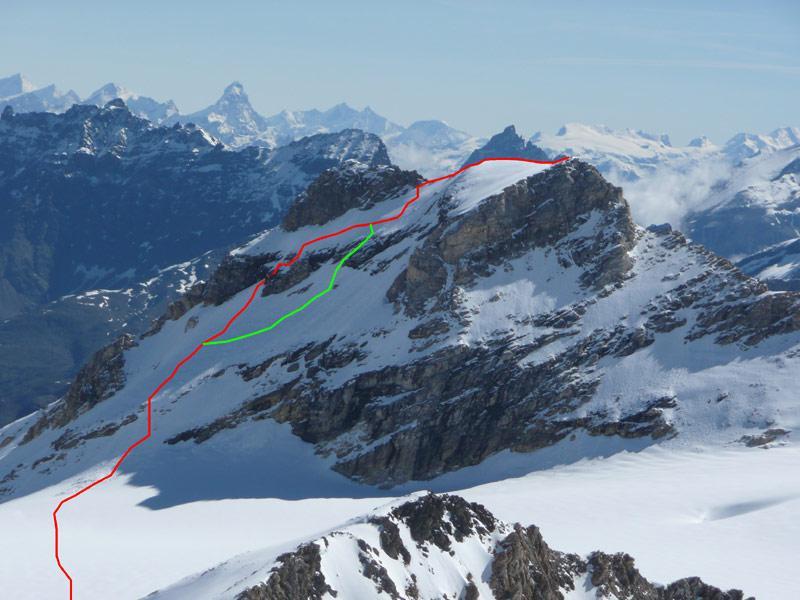 la granta parei vista dalla Tzanteleina (in rosso il percorso di salita, in verde quello di discesa)