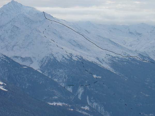 Linea continua it. dal Vallone S.te Anne; trattegggiata da Bramans.