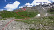 il percorso che si segue nella prima parte dell'itinerario per la Roncia (11-7-2010)