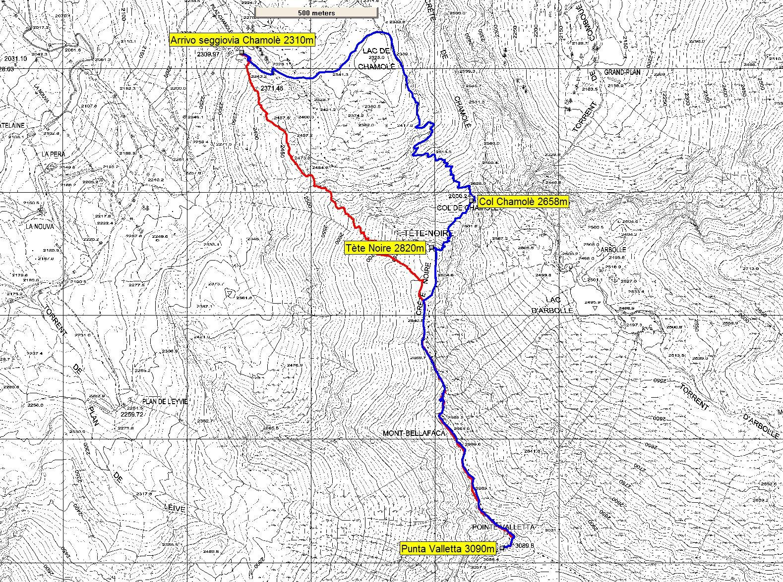 rosso sentiero 19B, blu sentiero 19A