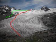 in rosso la nostra traccia e in verde quella alternativa