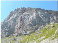 la Paroi des Montons con il tracciato della via Ivan