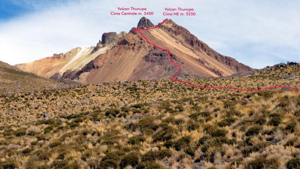 il Thunupa con la via di salita seguita dal nostro gruppo (12-8-2010)