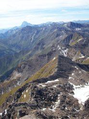 Dalla vetta: Monviso 3841m, cresta spartiacque valli Germanasca-Troncea e in fondo il Barifreddo 3028m