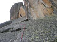 La placca del 4° tiro, l'unico punto dove la verticalità molla un attimo.