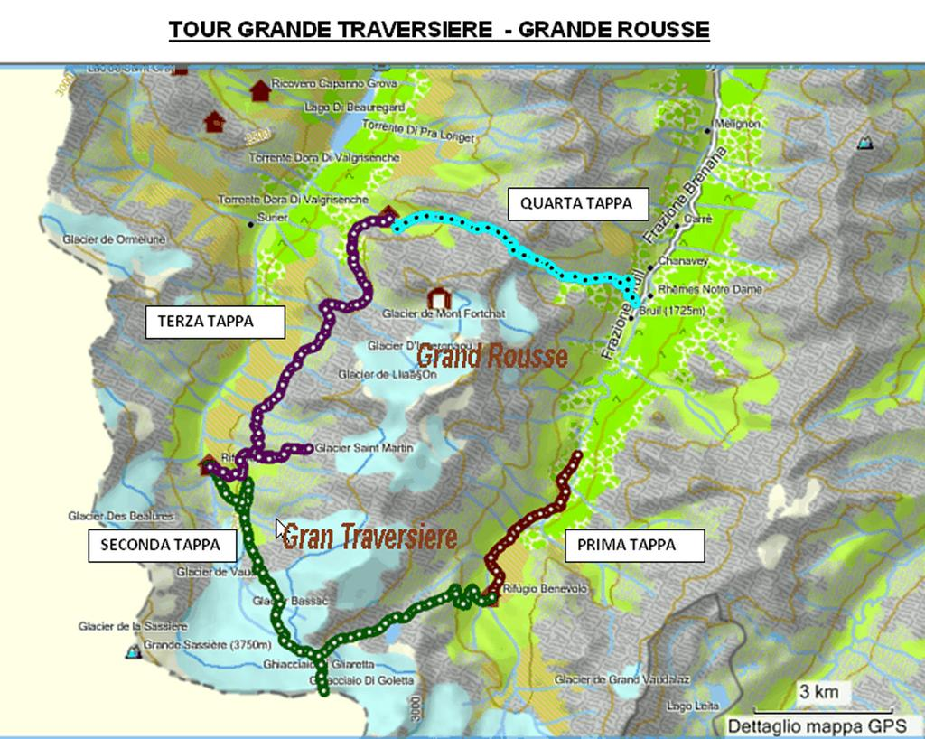 Mappa Tour Gran Traversiere e Aiguille Rousse