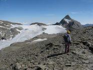 Maurizio con il Rocciamelone ed il suo ghiacciaio