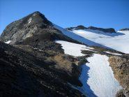 Dal Col Bassac Déré, vista verso sud, il pendio finale della Becca di Traversiere