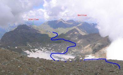 Itinerario vallone Grauson visto dalla cima