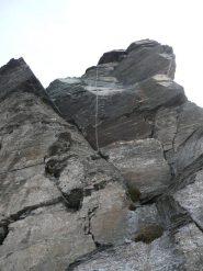 il salto con la corda fissa e il diedro di III a sx