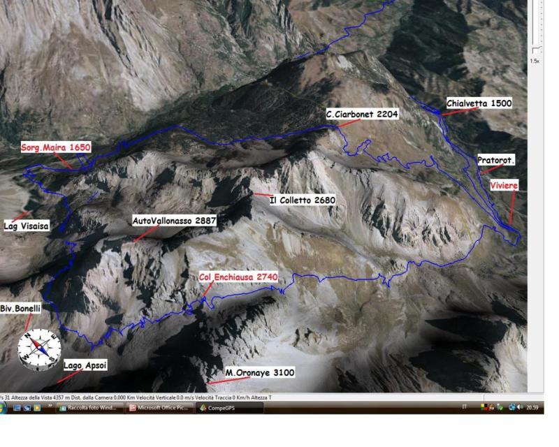 Traccia GPS su mappa 3D Anello Colle Ciarbonet ed Enchiausa