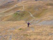 scendendo dalla cresta erbosa