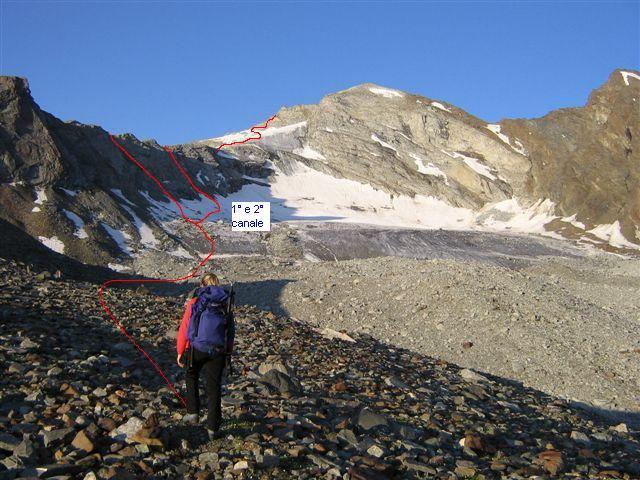 fascia rocciosa da superare a sinistra salendo 1° o 2° canale