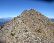 La cresta in parte rocciosa (facile) che porta alla Cima del Trapen.