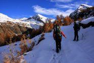 la prima neve incontrata a quota 2200 m. nel Vallone di Palasina (6-11-2010)