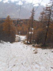 04 - la neve inzia a diventare continua (Fuori dal bosco) sopra Clot Sigot